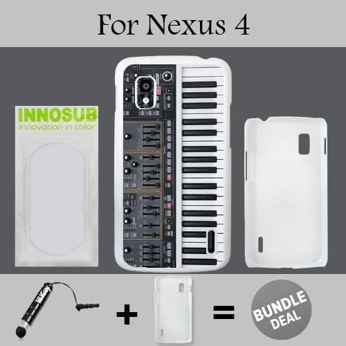 Synthesizer Custom LG Nexus 4 Cases-White-Plastic,Bundle 2in1 Comes with Custom Case/Universal Stylus Pen by ()
