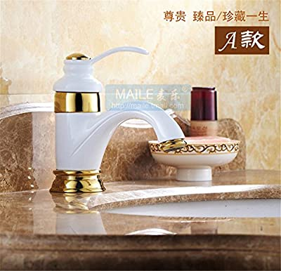 YSRBath Modern Bathroom Sink Faucet Antique Copper Grill White Paint Hot And Cold Taps Gold Kitchen Bathroom Basin Mixer Tap Basin Faucet