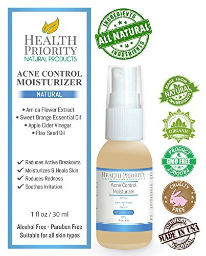 Natural & Organic Proactive Acne Control Moisturizer + Apple Cider Vinegar & Vitamin E for adults & teens. Best face cleanser and wash for all adult & teen acne prone skin. Argan oil moisturizes skin