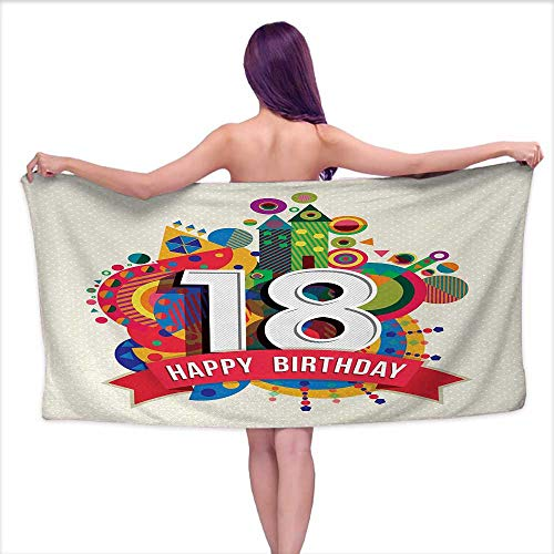 Bensonsve Bath Towel bar 18th Birthday,Colorful Geometric Stipes Dots Shapes Backdrop with Happy Birthday Quote,Multicolor,W20 xL39 for Kids