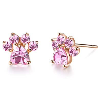 76f259a2e902f Amazon.com: Pet Cat Dog Paw Earring Stud Earrings For Girls Women ...