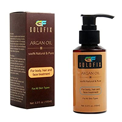 100% Organic Moroccan Argan Oil. Best for Damage Treatment of Dry and Falling Hair, Dry Face, Nails, Beard & Cuticles. USDA Certified, 100 ml