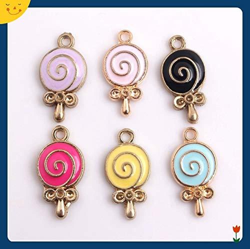 Colourful Alloy Enamel Lollipop Charm Pendants | for Bracelets | Keychain Necklaces | DIY Jewelry (10x19mm, 30pcs)