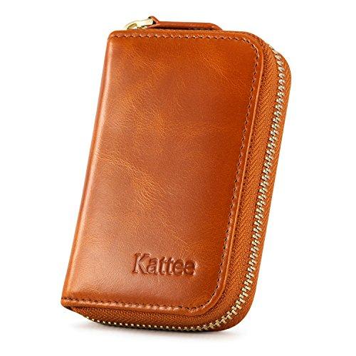 Kattee Leather Zip Around Wallet, Women's RFID Credit Card Small Wallet Brown by Kattee (Image #2)