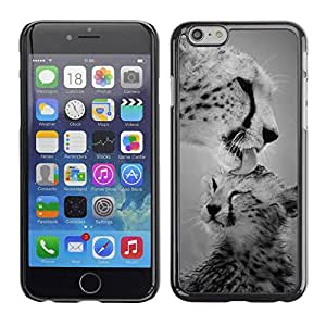 PC/Aluminum Funda Carcasa protectora para Apple Iphone 6 cub leopard big cat black white nature / JUSTGO PHONE PROTECTOR