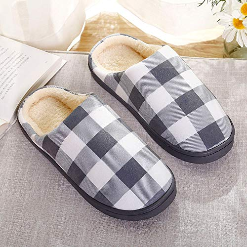 NUWFOR Men Warm Plaid Home Plush Soft Slippers Indoors Anti-Slip Floor Bedroom Shoes(Gray,9.5-10.5 M US) by NUWFOR (Image #1)