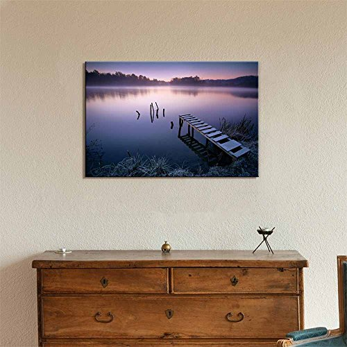 Beautiful Scenery Landscape Misty Peaceful Quiet Lake in Early Morning Calmness Concept Nature Beauty Wall Decor ation
