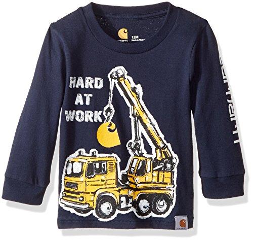 Navy Dungaree (Carhartt Baby Little Boys' Long Sleeve Tee Shirt, Hard At Work Navy, 9M)