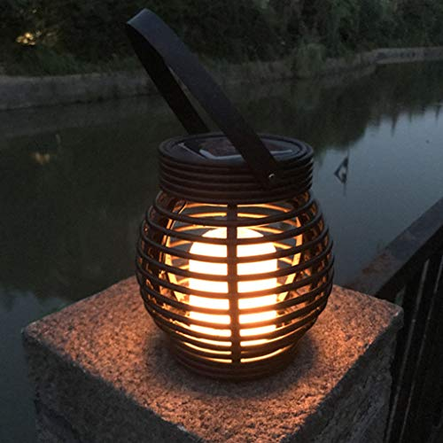 Iuhan Lantern Light Outdoor, Industrial Vintage Metal Cage Hanging Ceiling Pendant Light Holder Lamp Shade Rattan Flame Lamp (Black) by Iuhan  (Image #1)