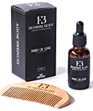 Beard Oil & Comb Set-Beard Care Gift Kit for Professional Men- Unscented with Organic Ingredients (1 fl oz/30ml)