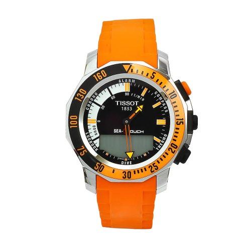 Tissot Men's T0264201728103 Sea-Touch Orange Rubber Multifunction Analog-Digital Dial Watch