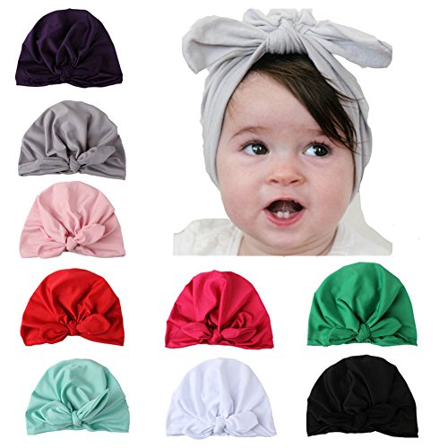 Udolove Baby Headband Set- Newborn Baby Girl Soft Turban Knot Rabbit Headwrap Hospital Hat (9pcs set) by Udolove