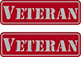 2 - Veteran, Red on reflective, Hard Hat, Tool Box, Lunch Box, Helmet Stickers .675' x 2.21'