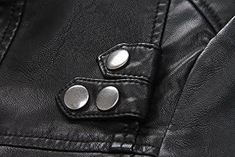 LJYH Boys Faux Leather Moto Jacket Black