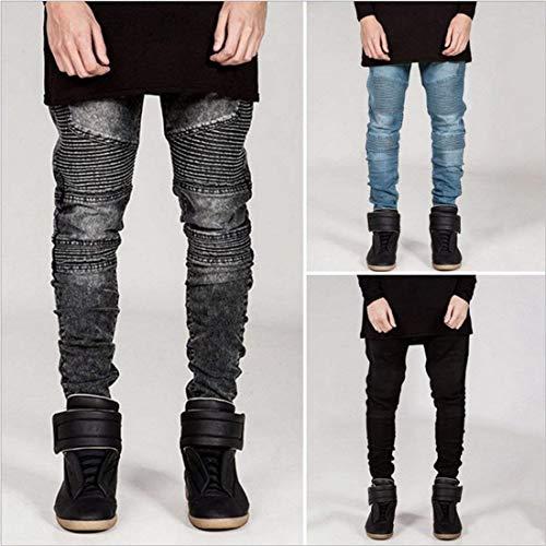 Jeans Biker Mens Mezclilla Chicos De Skinny Pantalones Motos Slim Fit De Grau Vaqueros Clásico Los Legging Estiramiento Hombres De Pantalones Algodón aPfqaz