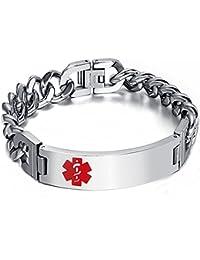 Free Engraving Unisex Stainless Steel ID Tag Medical Alert Emergency Bracelet Silver
