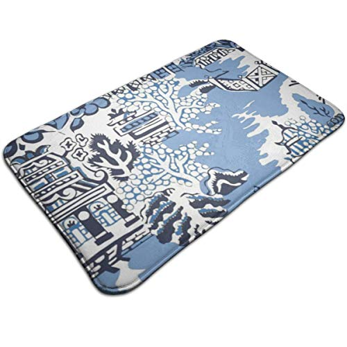 Jhgsjnsf Blue & White China Blue Willow Bathmat Rug Door Mat Entrance Mat Floor Mat Rug Indoor/Outdoor/Front Door/Bathroom Mats Rubber Non Slip 19.7x31.5 Inches.