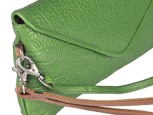 Damentasche Leder Clutch grün Schultertasche