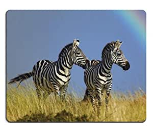 rainbow zebras equus grevyi animal Mouse Pads Customized Made to Order Support Ready 9 7/8 Inch (250mm) X 7 7/8 Inch (200mm) X 1/16 Inch (2mm) High Quality Eco Friendly Cloth with Neoprene Rubber Liil Mouse Pad Desktop Mousepad Laptop Mousepads Comfortable Computer Mouse Mat Cute Gaming Mouse pad