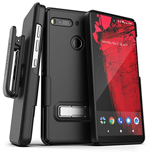 Encased Essential Phone Belt Clip Case with Kickstand (2019 Slimline) Thin Cover w/Rotating Holster (Essential Phone PH-1) Black