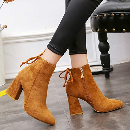 Colore Heel 38 Zipper Donna Shoes Bowknot Boots Faux Cammello Ankle Suede Nero Gaslinyuan Chunky EU Dimensione wYq1vRxx4