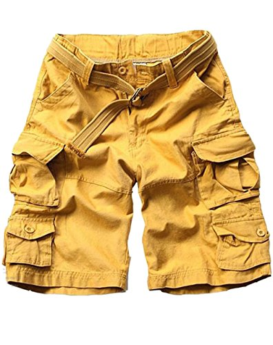 Sevem-D Summer Mens Cargo Shorts Casual Male Shorts Military Camouflage Shorts Plus Size Yellow (Yankees Leather Jacket)