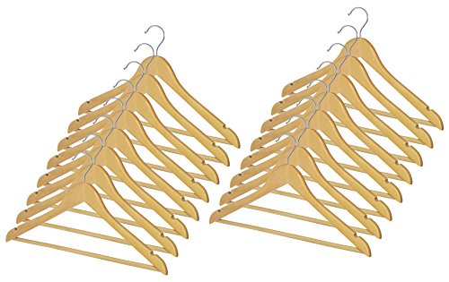Whitmor GRADE A Natural Wood Suit Hangers (Set of 16)