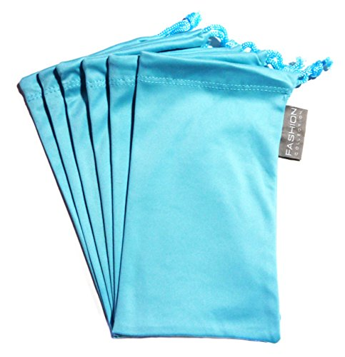 6 PC Eyewear Eyeglass Microfiber Soft Cleaning Cloth Bag Pouch Case BABY BLUE