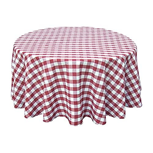 Beautiful Wine Red White Tablecloths: Gingham Checkered Design (70 Round)