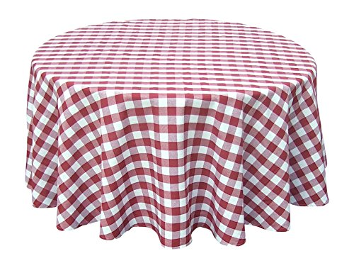 Wine Red White Tablecloths: Gingham Checkered Design (70 Round)