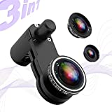 Cell Phone Camera Lens Kit for iPhone and Android,3 in 1 Universal Smartphone Lens Kit with 10X Macro Lens+180°Fisheye Lens+Super Wide Angle Lens,Make More Flexibility and Fun