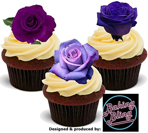 (12 x Lavender Purple Rose Mix - Fun Novelty Birthday PREMIUM STAND UP Edible Wafer Card Cake Toppers Decorations)