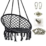 Hanging Rope Hammock Lounger Chair Macrame Porch Swing for Indoor Outdoor Home Bedroom Patio Yard Garden,Include Hooks Chain Ceiling Mount Set by Hi Suyi