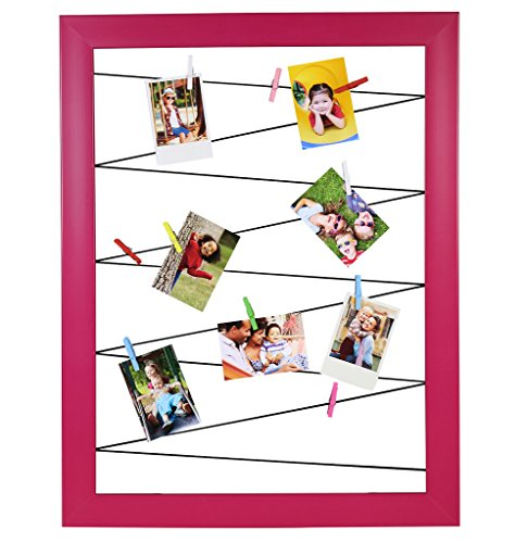 Polaroid Clothespin Frame for Zink Photoprints – Includes 10 Clips of Assorted Colors - Pink ()