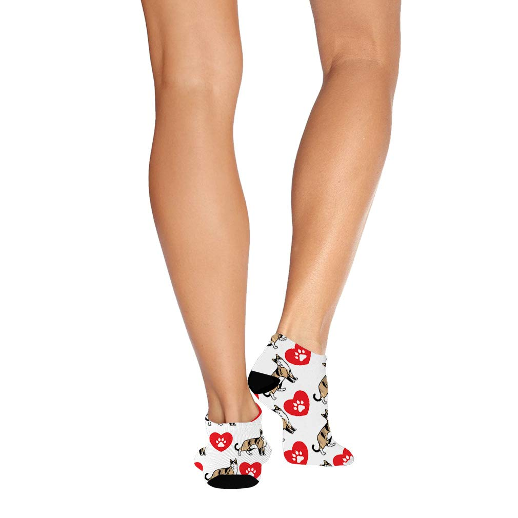 Snowshoe Cat Heart Paws Pattern #1 Men-Women Adult Ankle Socks Novelty Socks