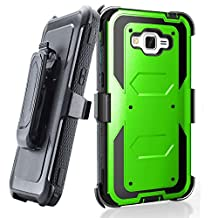 Grand prime Case,Galaxy G530 Case,LUOLNH Heavy Duty Shockproof Durable Full Body Protection Rigged Hybrid Case with belt clip holster and Kickstand for Samsung Grand Prime G530H/G5308W(Green)