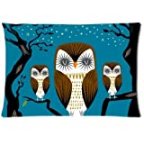 Mina-shop Owl Family Meeting Time background Embroidered Cotton Linen Decorative Throw Pillow Cover Cushion Case Pillow Case,16x24inch one side
