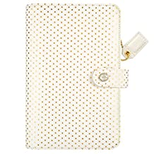 """Color Crush Faux Leather Personal Planner Binder 5.25""""X8""""-Gold Polka Dots"""