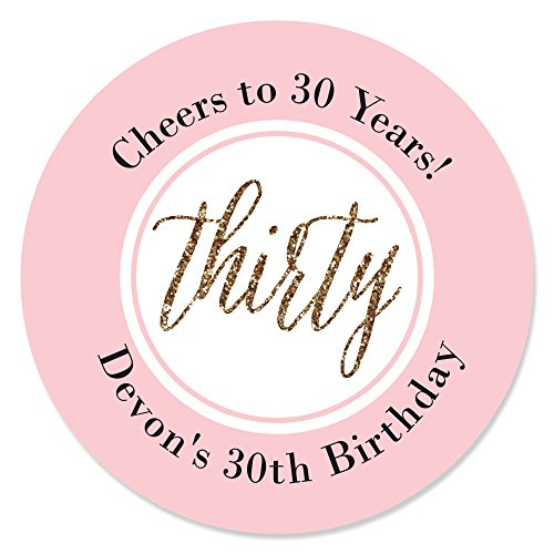 Custom Chic 30th Birthday - Pink and Gold - Personalized Birthday Party Favor Circle Sticker Labels - Set of 24