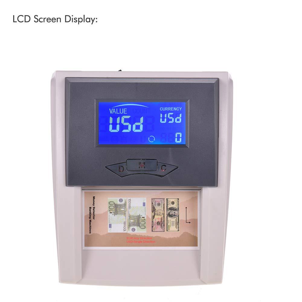 aibecy Portable Desktop Multi currency zählbarer automática Dinero Detector de dinero Banco Ordenador falsos con pantalla LCD valor para Euro USD: ...