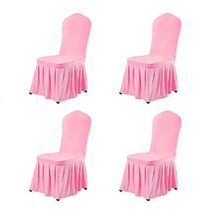 Uxcell Stretch Spandex Round Top Dining Room Chair Covers Long Ruffled Skirt Slipcover For Wedding Banquet Party Chair Covers Pink 4pcs