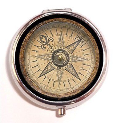 Victorian Steampunk Antique Style Compass Image on Pill Box Case Pillbox