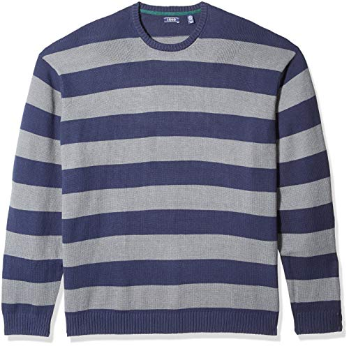 - IZOD Men's Big and Tall Newport Fine 7 Gauge Stripe Crew Sweater, Rugby Peacoat, X-Large Tall
