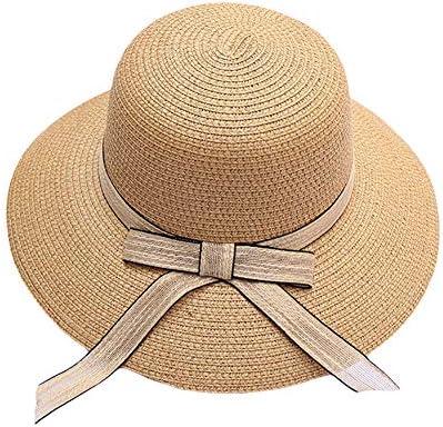 Sombrero De Paja para Mujer con Lazo De Tela Alas Anchas De
