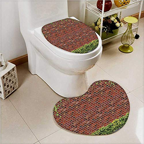 2 Piece Shower Mat Set Rustic Brick Wall with Creeper Plants and Leafs Tile Red Green White Custom Made Heart Shaped Foot pad Set - Heart Leaf Wall Tile