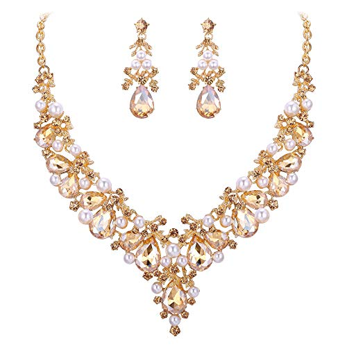 EVER FAITH Crystal Simulated Pearl Gorgeous Bridal Leaf Waterdrop Necklace Earrings Set Brown Gold-Tone