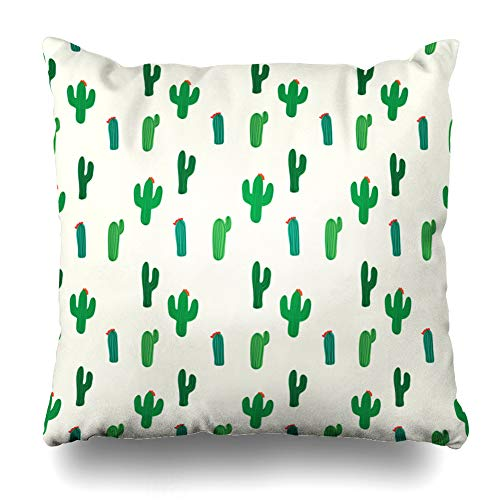 Ahawoso Throw Pillow Cover Green Pattern Cactus Abstract Orange Style Mexico Retro Flower Floral Bloom Design Zippered Pillowcase Square Size 16 x 16 Inches Home Decor Cushion Case