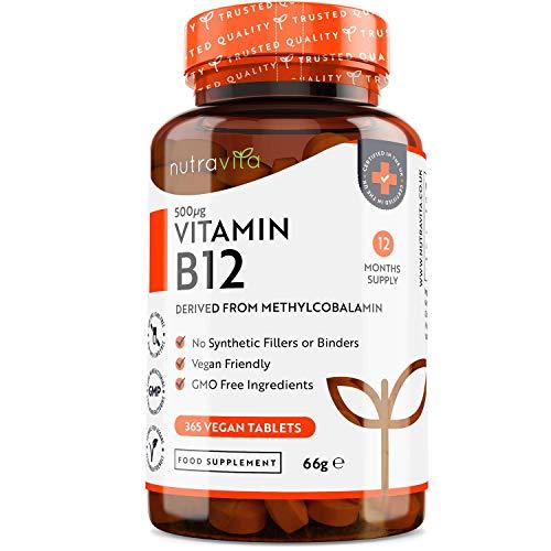 Vitamin B12 Tablets 500mcg – 365 Vegan Tablets (1 Year Supply) – Methylcobalamin B12 Supplement – Immune System, Brain…