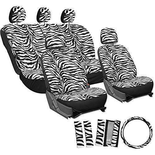 Motorup America Zebra Auto Seat Cover - Animal Print Full Set - Fits Select Vehicles Car Truck Van SUV - White ()