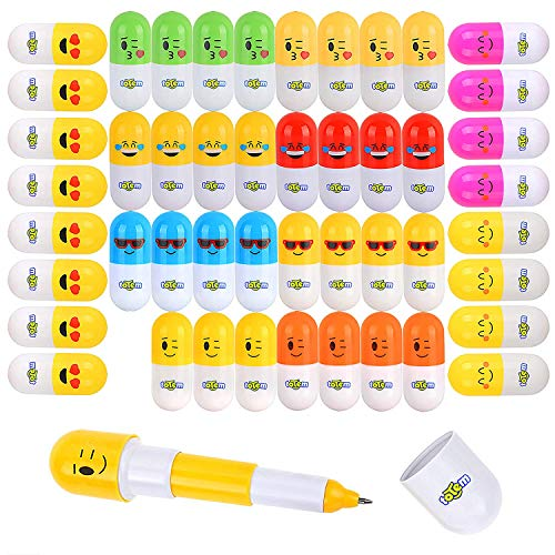 Totem World 48 Colored Emoji Vitamin Pill Retractable Ballpoint Capsule Pen with Cute Emoticon Faces